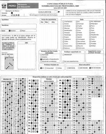 Examen de Nombramiento - Einstellungstest für Lehrer. Gestaltung: Peruanisches Bildungsministerium.