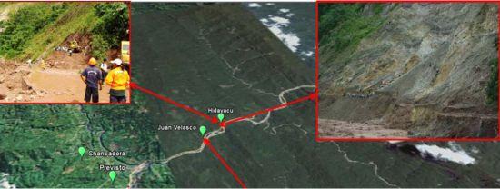Erdrutsch in der Provinz Padre Abad. Bild: INDECI/TerraMetrics/Google