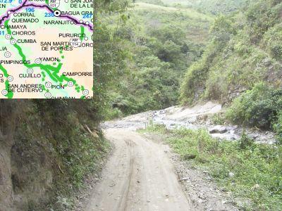Abschnitt der Straße Corral Quemado - Ocallí. Foto/Montage: D. Raiser / infoamazonas.de, Karte: MTC