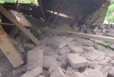 Bagua Grande (Utcubamba): Zerstörtes Haus nach dem Erdbeben. Bild: INDECI
