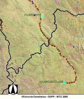 Die Strecke des Tren Macho - Huancayo - Huancavelica. Karte: MTC