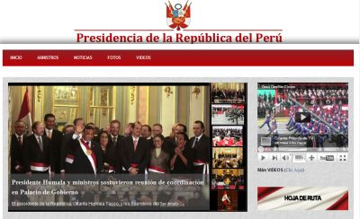 Wahlkampfseite, Präsidentenlogo drüber: Website des peruanischen Präsidentenpalastes.