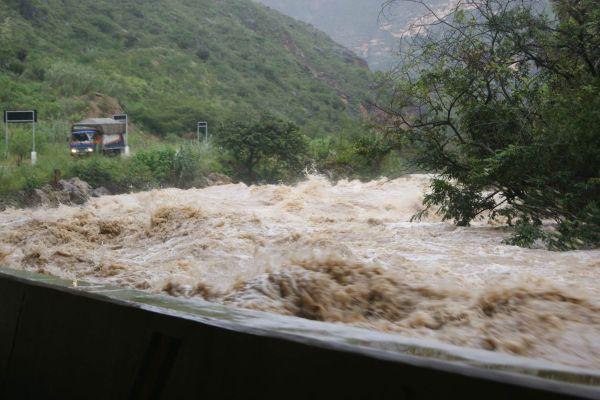 Hochwasser: Utcubamba in der Provinz Bongará