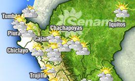 Wetterkarte des Wetterdienstes SENAMHI. Bild: SENAMHI.
