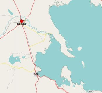 Juliaca - Puno - Titicacasee. Karte: OpenStreetMap.