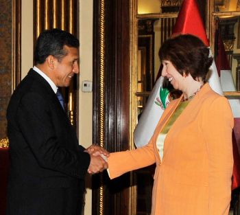 EU-Außenbeauftragte Ashton bei Perus Präsiden Humala. Foto: Presidencia Perú.
