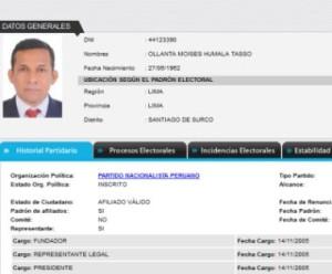 Persönliche Daten von Perus Präsident Humala (Ausweisnummer  44123390). Screenshot infogob.com.pe / JNE.